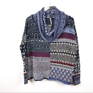 FREE PEOPLE | Patch Print Cowl Neck Sweater